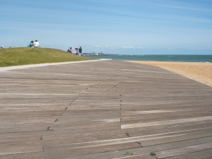 A large area of decking on a slight angle