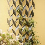 metal trellis with plants