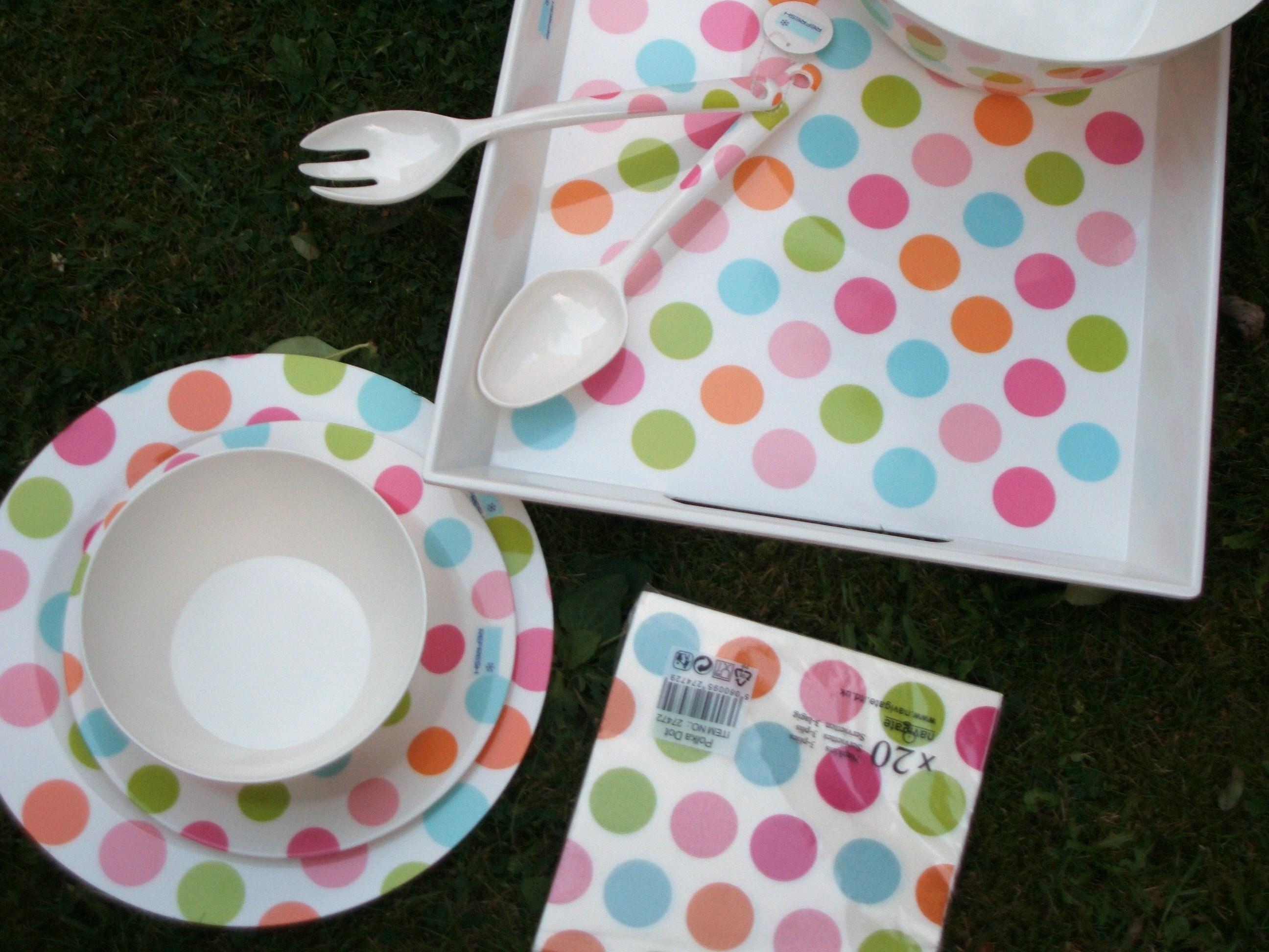 Polka dot picnicware on the ground