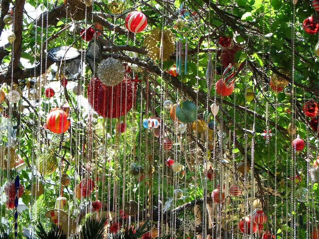 ornaments hanging from a tree