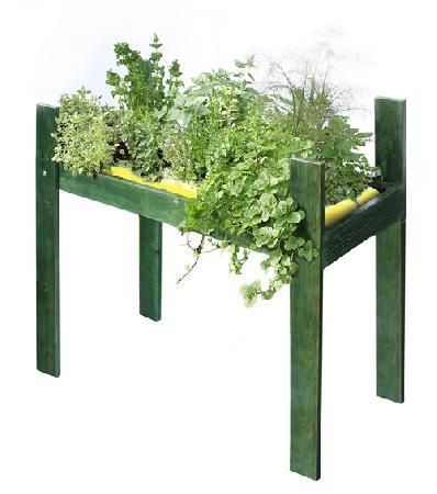patio planter raised in green