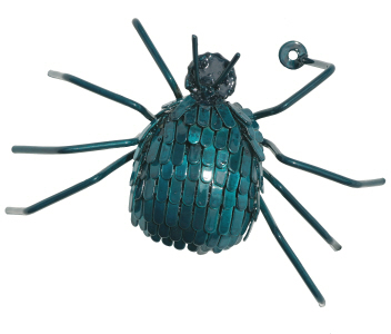 garden wall art spider in blue