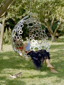 hanging chair in garden